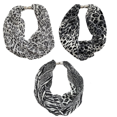 Crinkle Animal-Print Magnetic Scarf - Grey