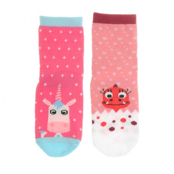 Girls Socks 2 pairs – Eunice Unicorn And Daisy Dino By Stripey Cats