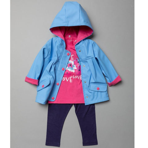 BABY GIRLS HOODED RAIN JACKET, PRINTED T-SHIRT & LEGGING OUTFIT T20299