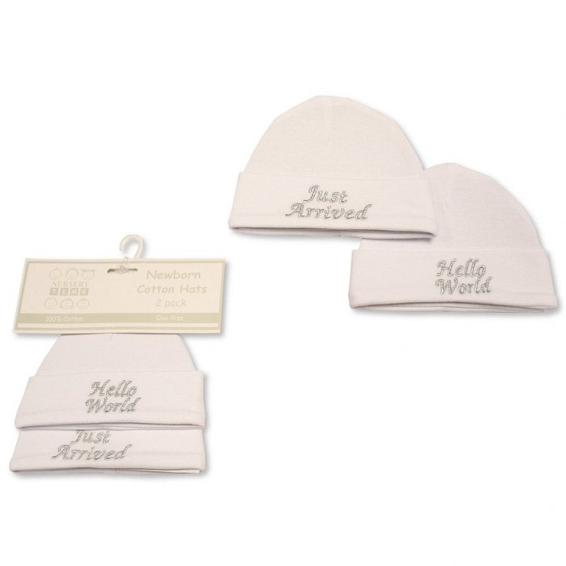 BABY  HATS 2-PACK - HELLO WORLD BW-0503-0479