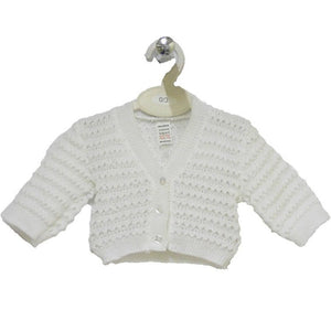 Bee Bo White  BABY WHITE KNITTED CARDIGAN : (0-9 MONTHS)