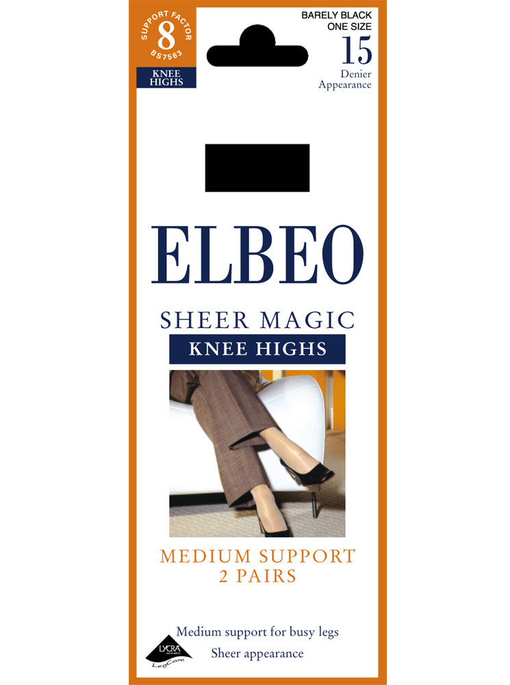 Elbeo Sheer Magic 15 Denier Knee Highs (2 Pair Pack)