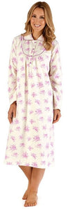 "Slenderella Ladies Floral Printed 45"" Long Sleeve Luxury Flannel Nightdress ND66211"
