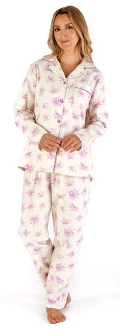 Slenderella Ladies Floral Printed Long Sleeve Luxury Flannel Button Through Pyjama