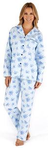 Slenderella Ladies Floral Printed Long Sleeve Luxury Flannel Button Through Pyjama Blue