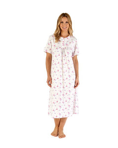 "Slenderella Ladies Floral Scroll Print 46"" Short Sleeve Jersey Nightdress"