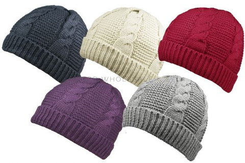 Ladies Knitted Hats with Sherpa Fleece Lining
