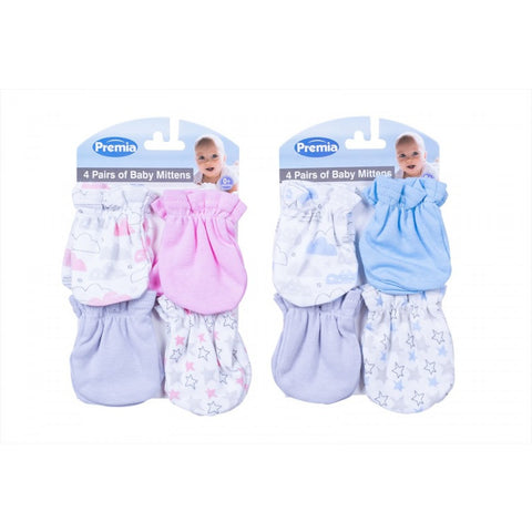 PREMIA MITTENS FOUR PACK TWO ASSORTED DESIGNS