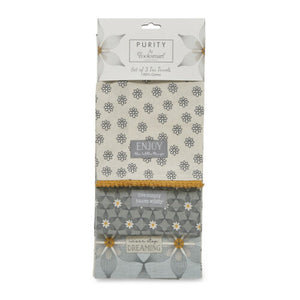Purity 3 Pack 100% Cotton Tea Towels By Cooksmart TT1857