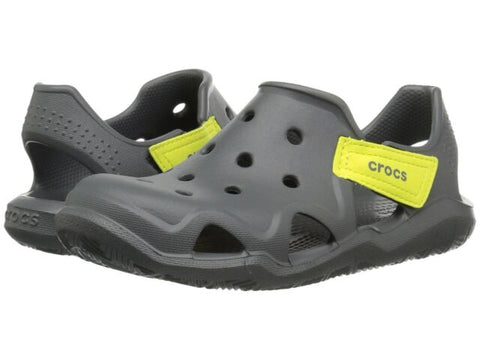 Kids  Crocs Swiftwater Wave  Slate Grey/ Tennisball Green