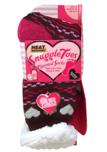 Ladies  Snuggle Toes Hearts & Crosses Thermal Slipper Socks