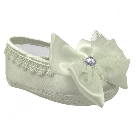 Soft Touch Baby Girl Christening Shoes with Bow