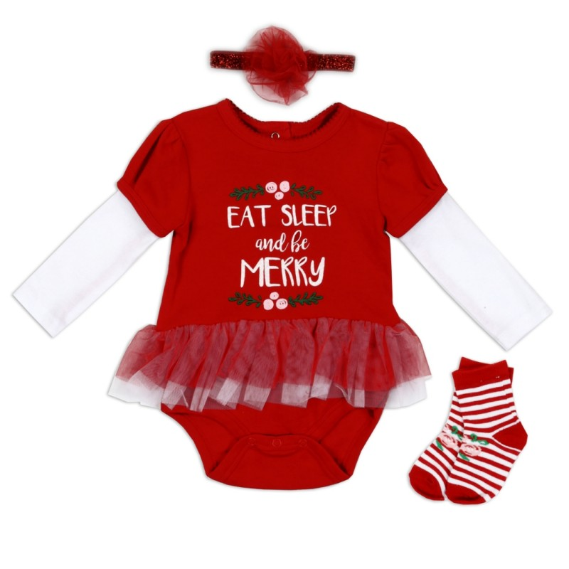 Eat Sleep and Be Merry Baby Girls Layette Set