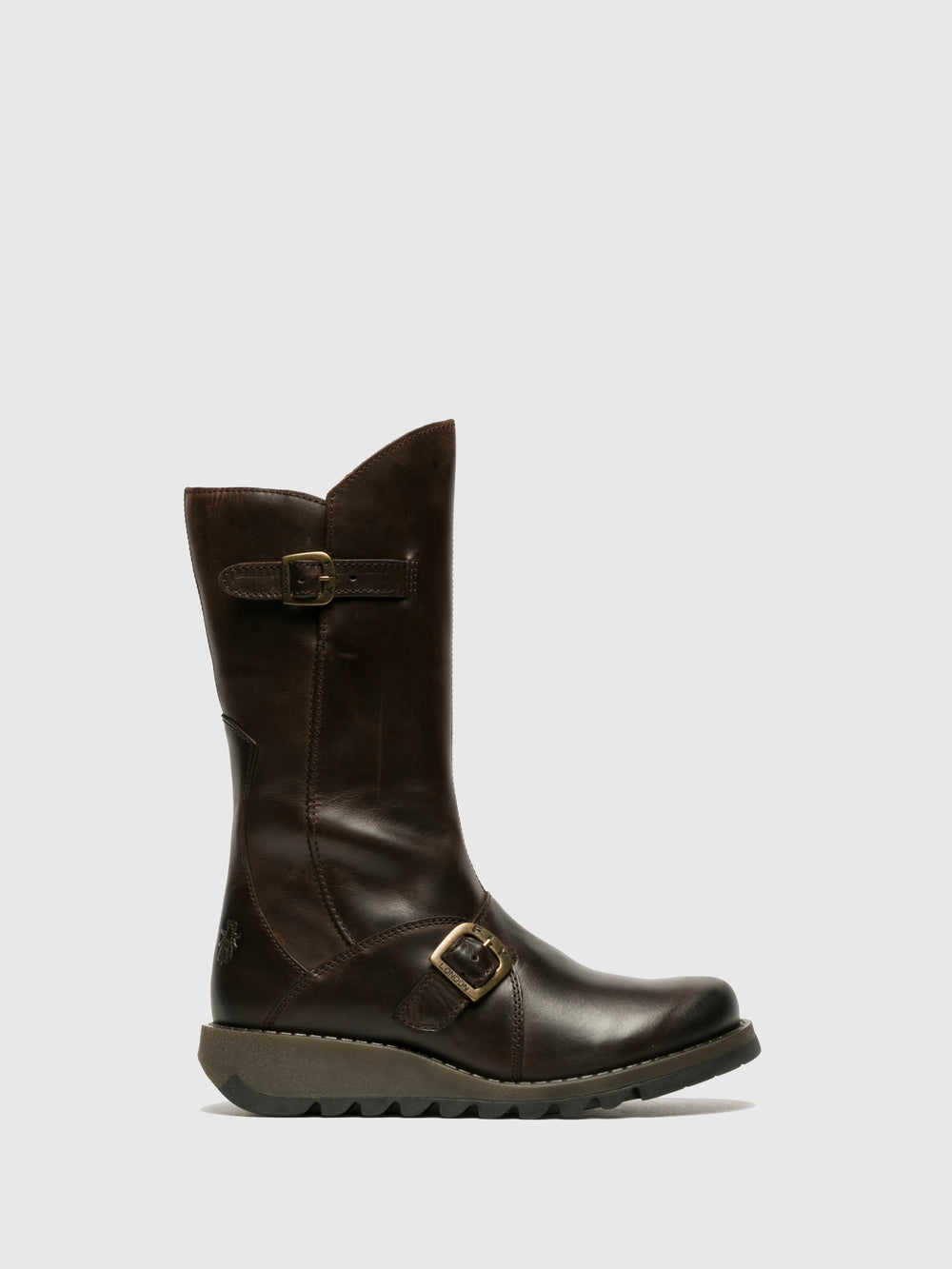 Buckle Boots MES 2 DK BROWN