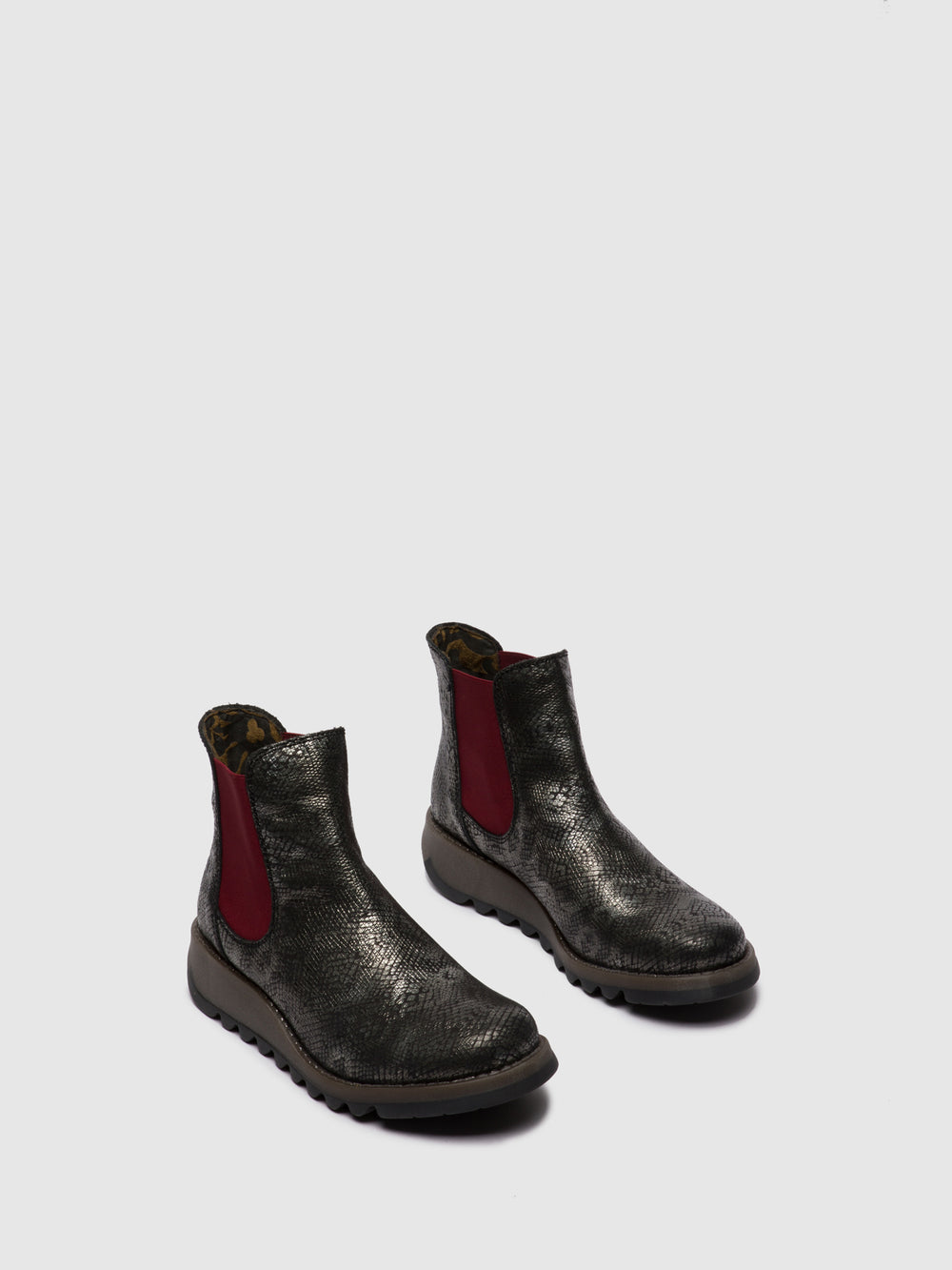 Chelsea Ankle Boots SALV PANDORA BLACK SILVER (RED ELASTIC)