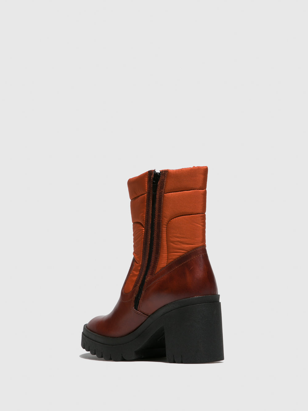 Zip Up Ankle Boots TYKE661FLY RUG/NYLON BRICK/ORANGE