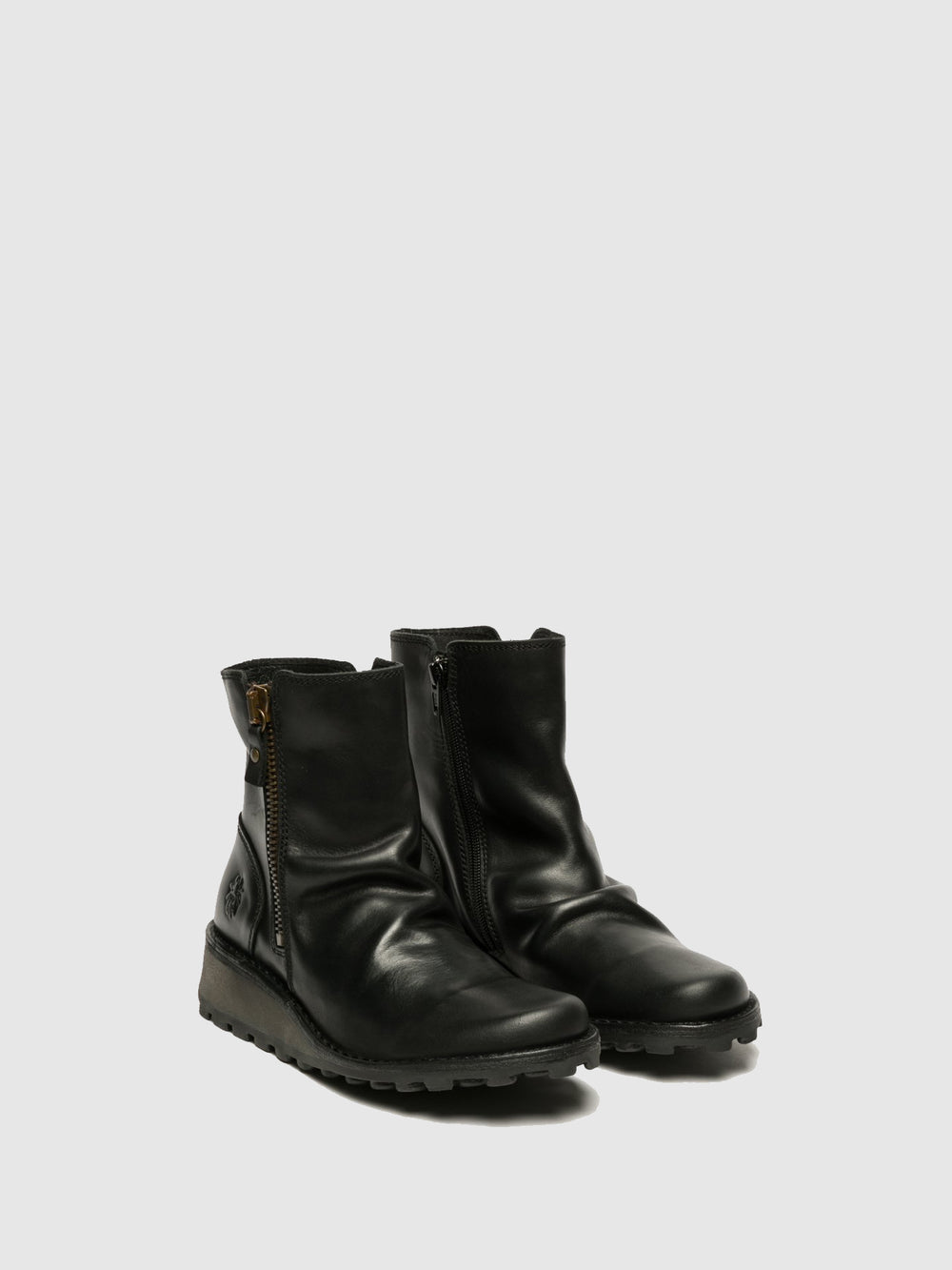 Zip Up Ankle Boots MON944FLY BLACK