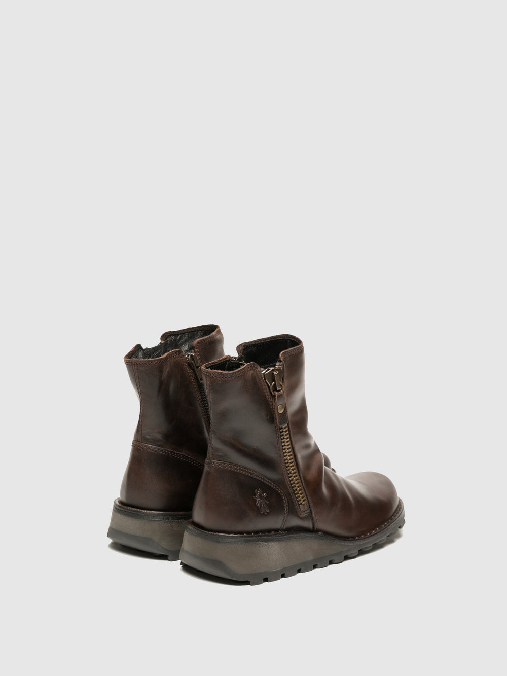 Zip Up Ankle Boots MON944FLY DK. BROWN