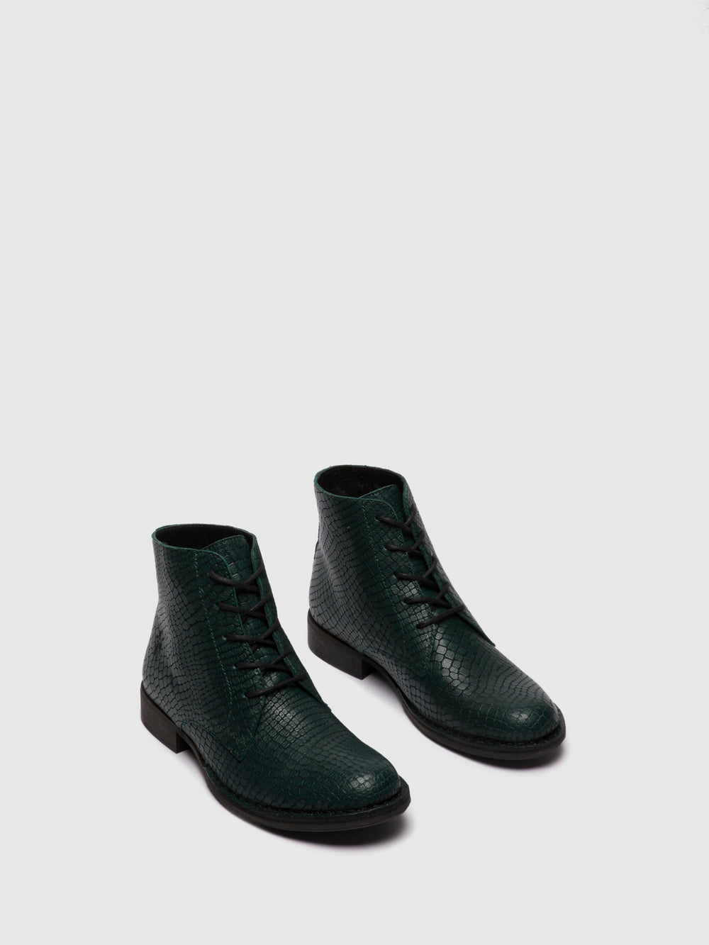 Lace-up Ankle Boots ROOT045FLY CROCO GREEN FOREST