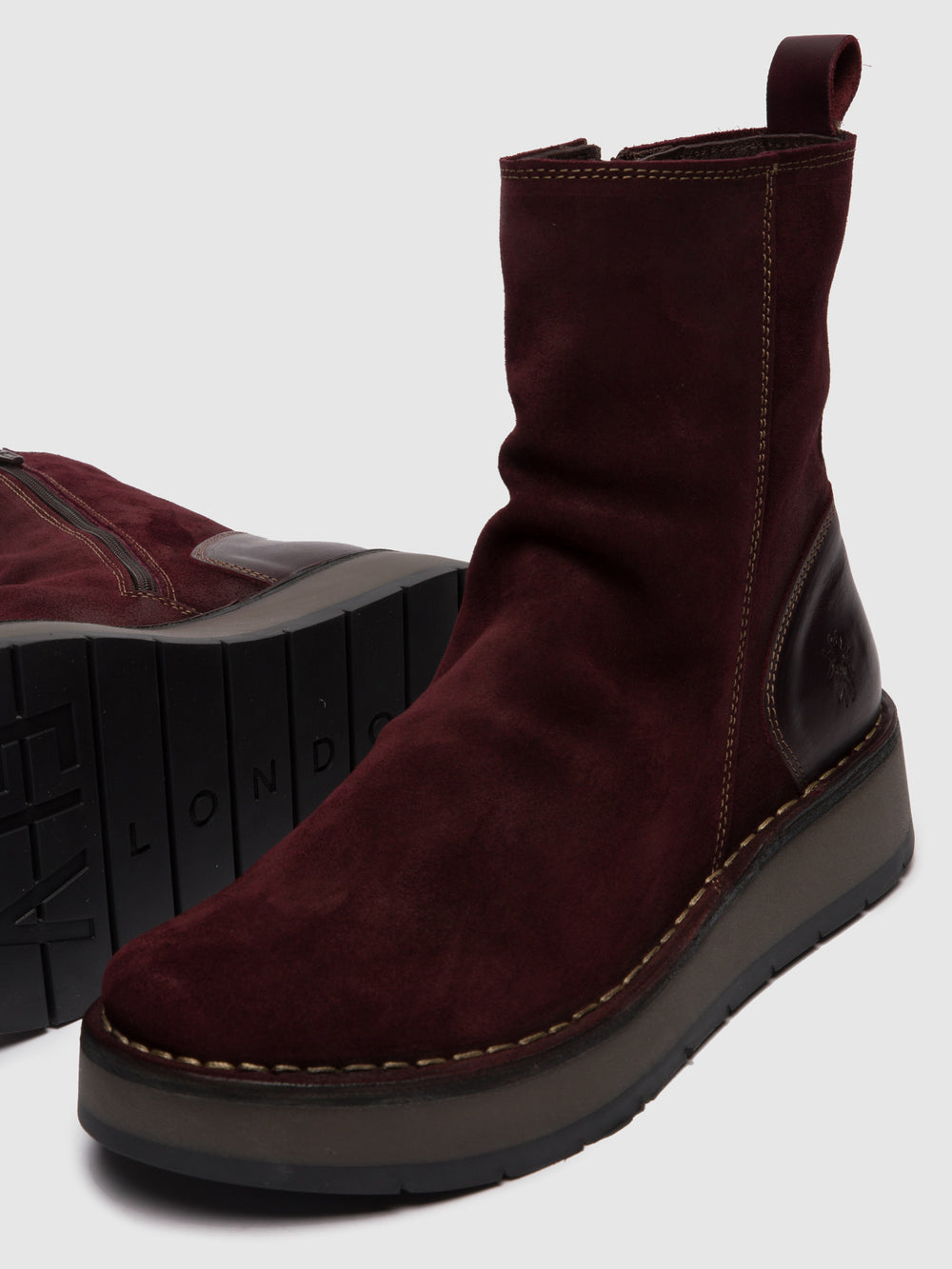 Zip Up Ankle Boots RENO053FLY OILSUEDE/RUG WINE