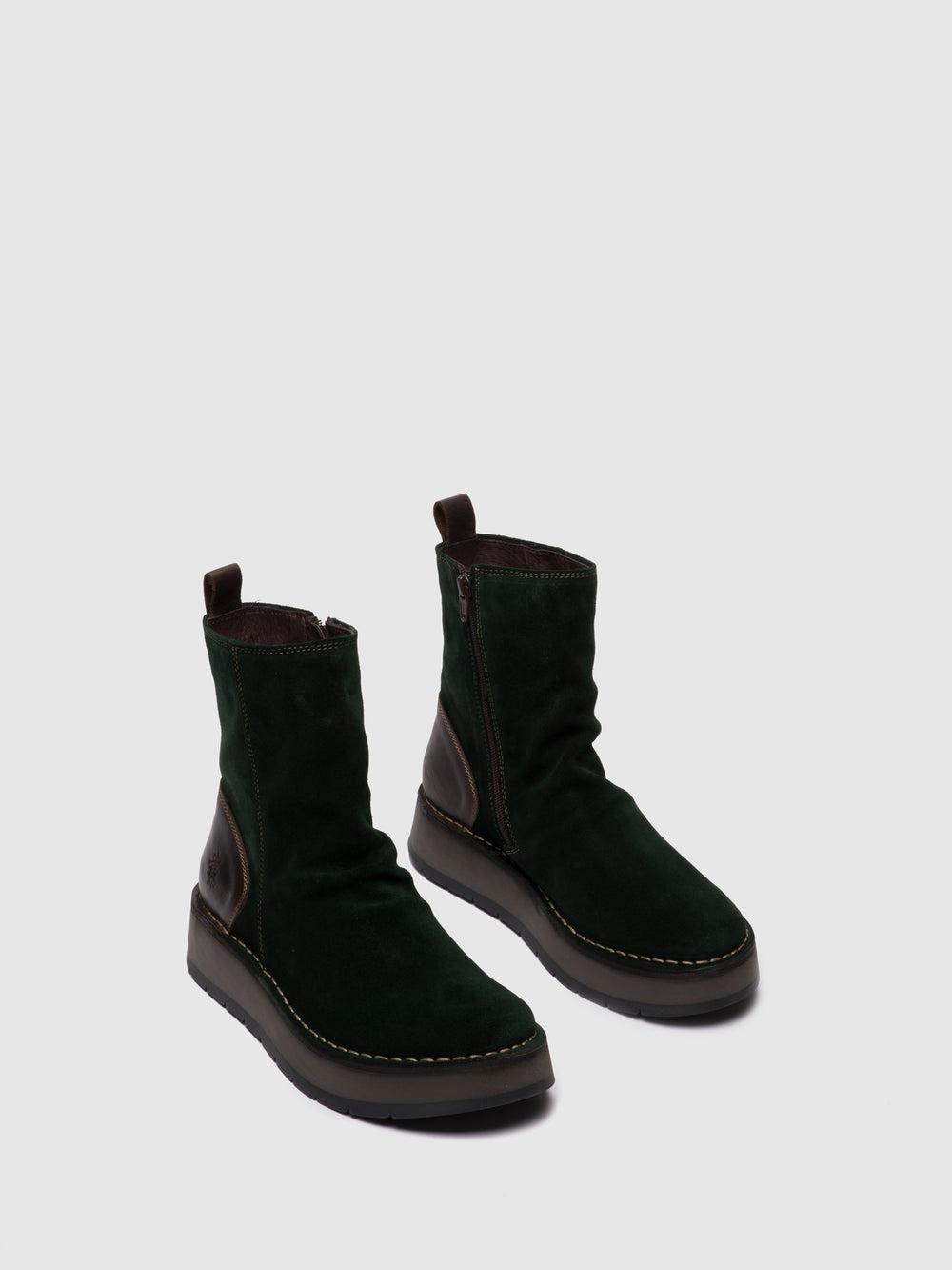 Zip Up Ankle Boots RENO053FLY OILSUEDE/RUG GREEN FOREST/DK.BROWN