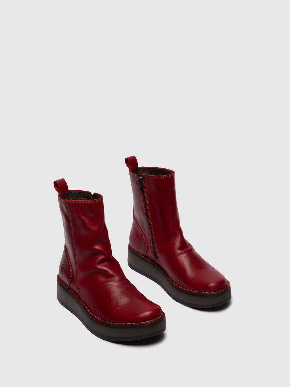 Zip Up Ankle Boots RENO053FLY RUG RED