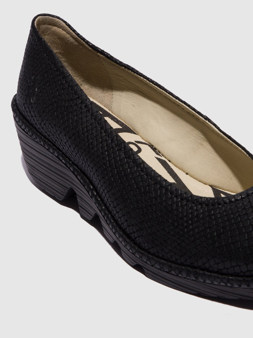 Carbon Black Wedge Ballerinas