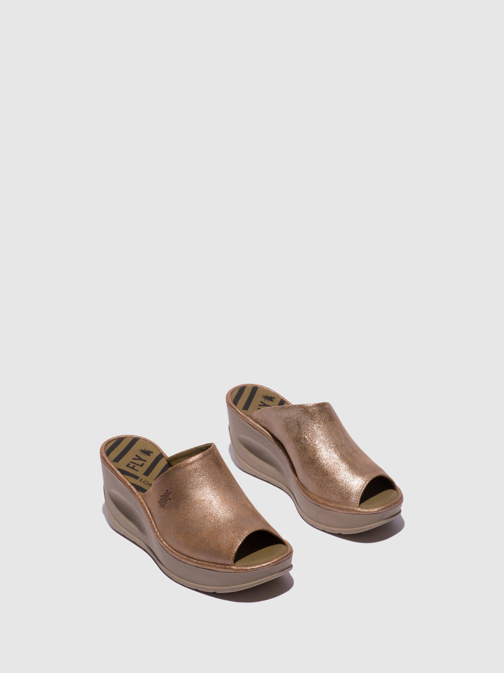 Gold Wedge Mules