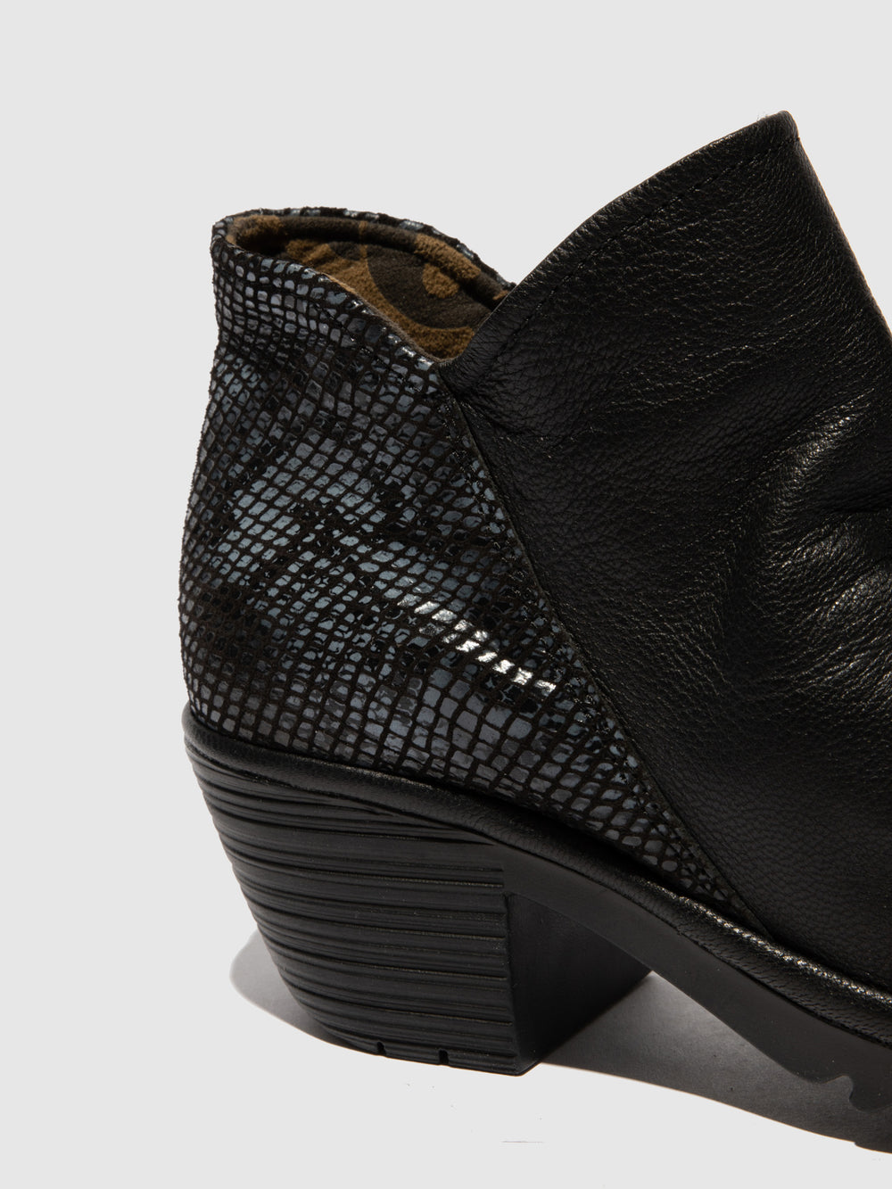 Zip Up Ankle Boots WEZO890FLY MOUSSE/SNAKE BLACK/BLACK(GREY)