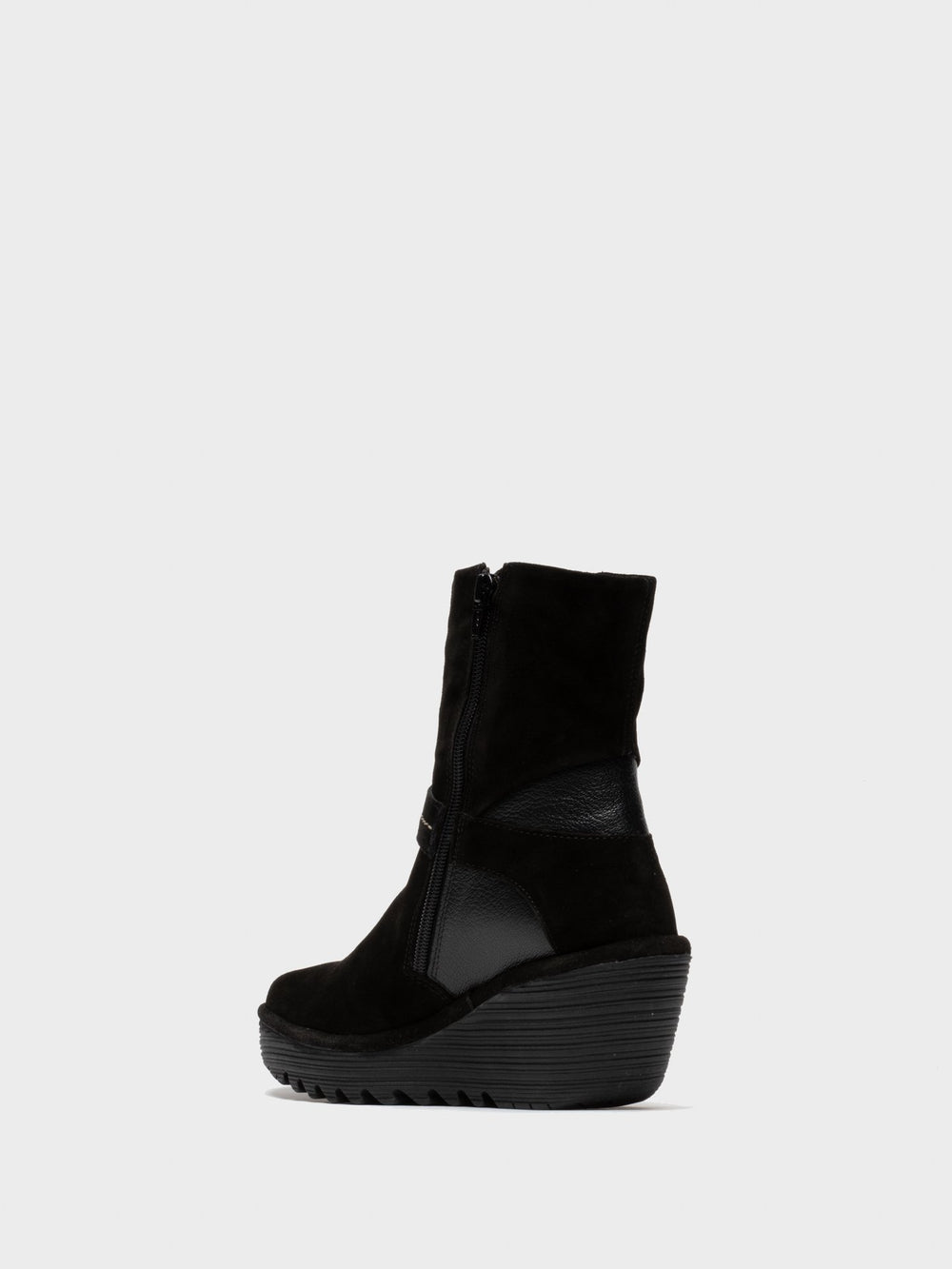 Zip Up Ankle Boots YOME083FLY BLACK/BLACK