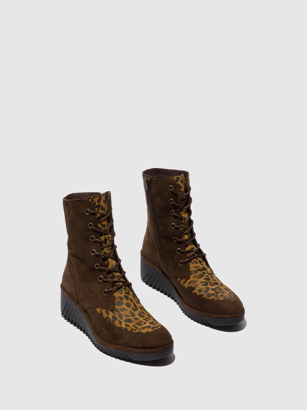 Lace-up Ankle Boots LIRA238FLY SILKY/CHEETAH GROUND/TAN