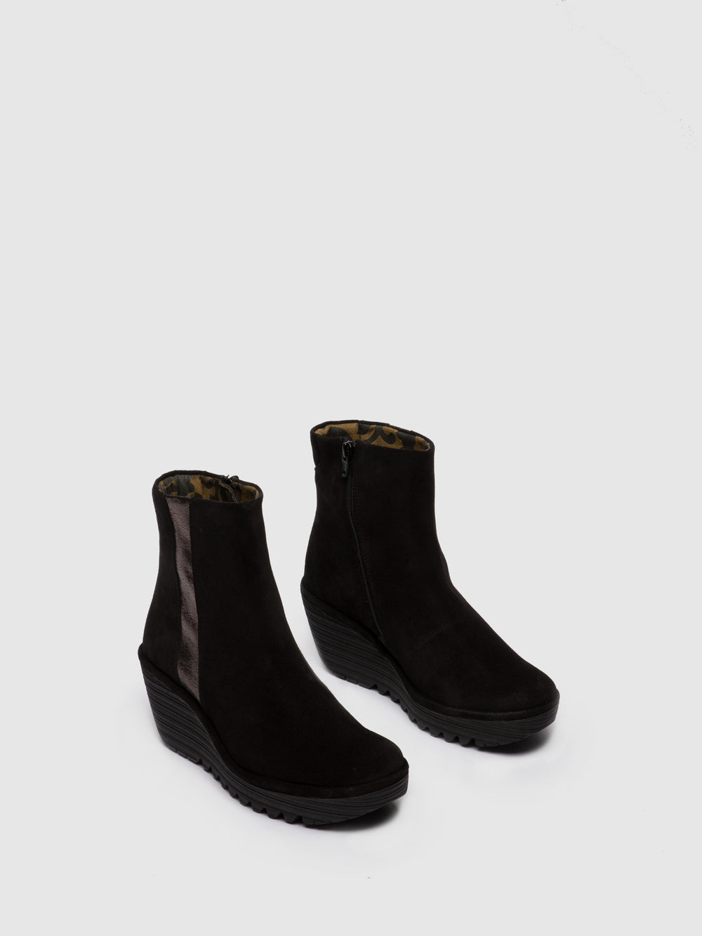 Zip Up Ankle Boots YULU252FLY OILSUEDE/VALLEY BLACK/PEWTER
