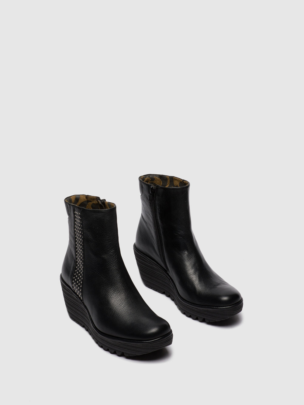 Zip Up Ankle Boots YULU252FLY STUD MOUSSE BLACK