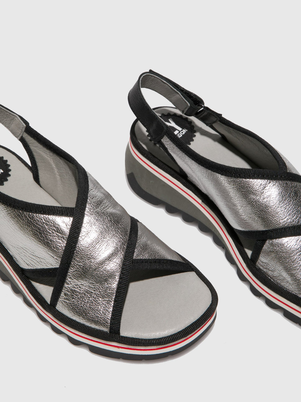 Silver Crossover Sandals