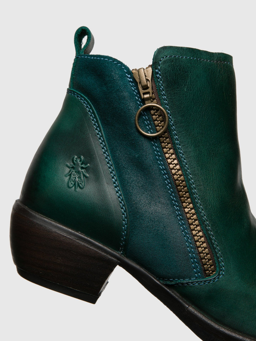 Zip Up Ankle Boots MELI PETROL