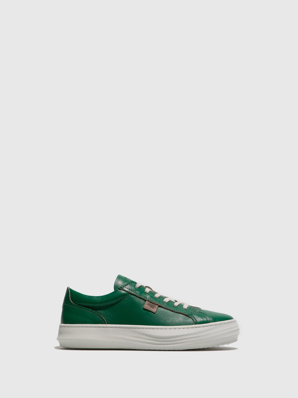 Green Leather Lace-up Trainers