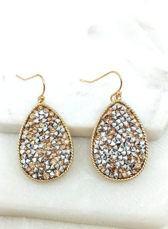 Crushed Stone Teardrop Earrings