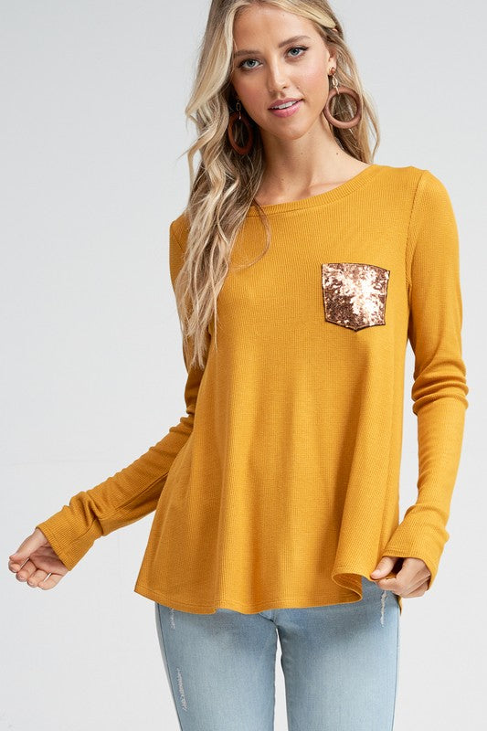 Sequins and Buttons Thermal Top