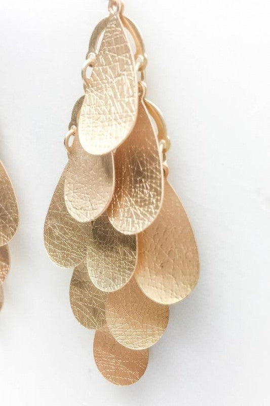 Textured Warped Tiered Drop Earrings