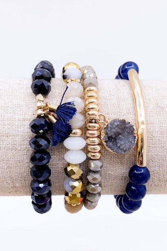 Navy 4 Strand Glass Bead Bracelet