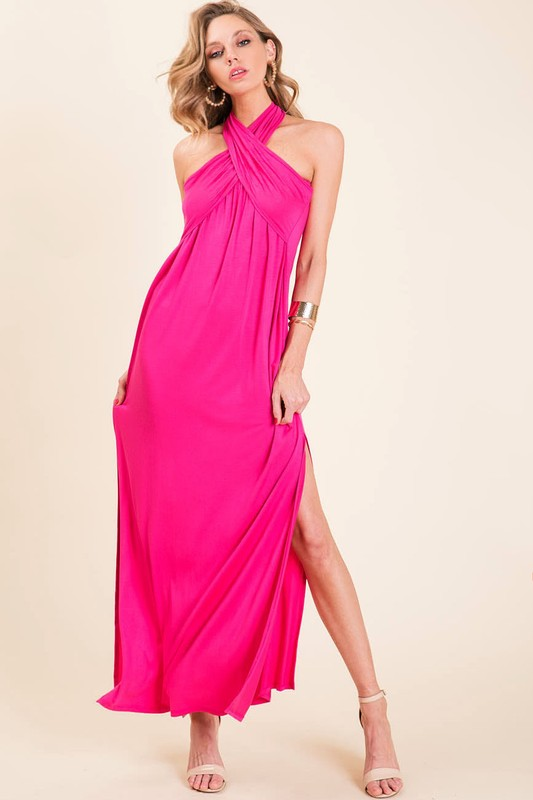 Stepping Out Halter Maxi Dress