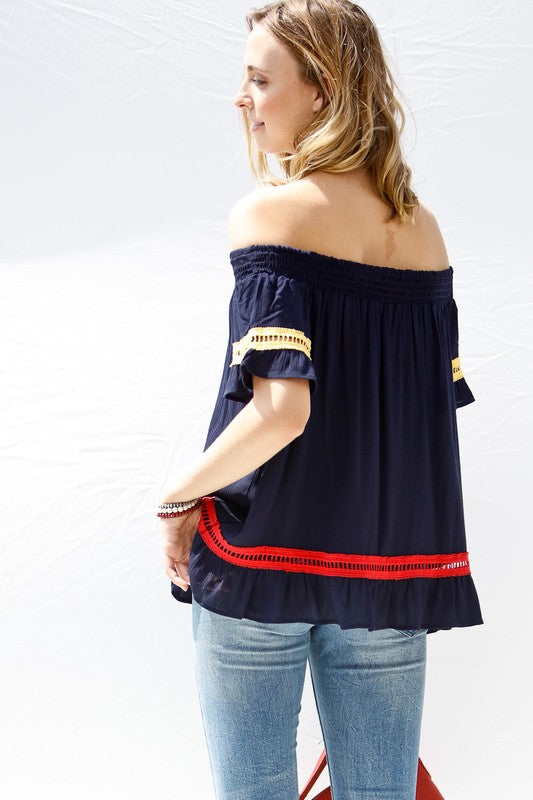 Crisp and Bright Smocked Off the Shoulder Top