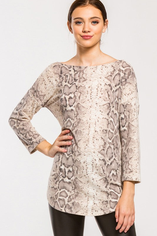 So Cold-Hearted Snakeskin Print Top