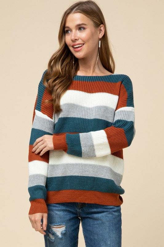 Swirls and Twirls Knot Back Stripe Sweater