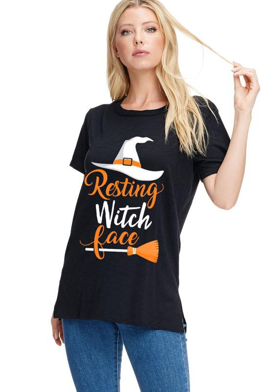 Resting Witch Face Graphic Tee Top