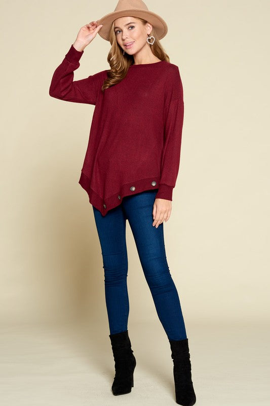 Button Bottom Burgundy Top