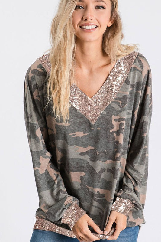 Camo Glamour Top