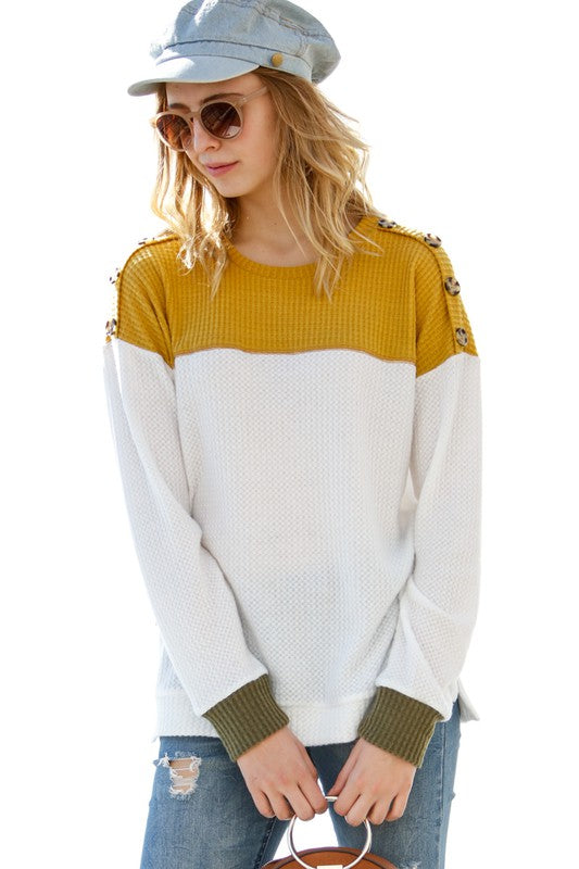 Warm By The Fire Waffle Knit Top