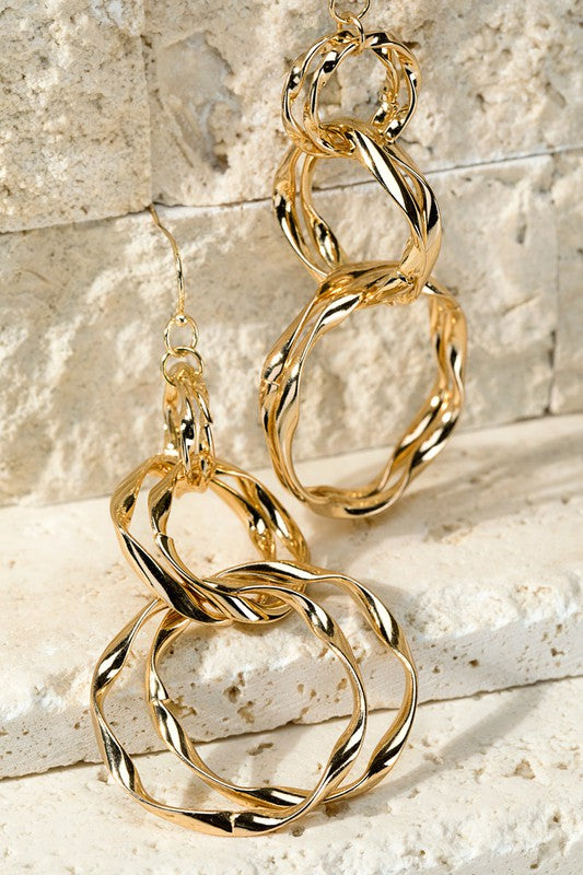 Wavy Metal Ring Earrings