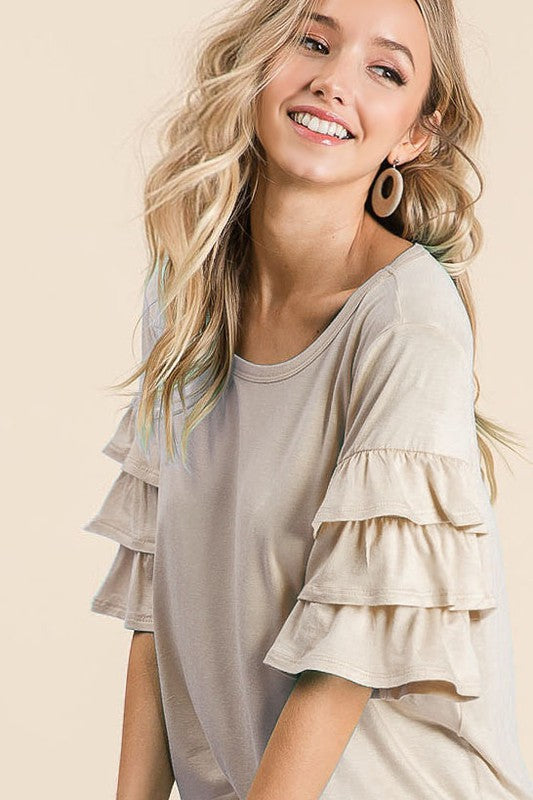 Feelin' Hot Ruffle Sleeve Top